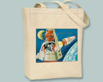 Albanian Postage Stamp Art, Russian Space Dog Laika Illustration BLACK or NATURAL Canvas Tote -- Selection of sizes available