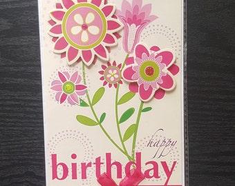 Happy Birthday Card, Girls Birthday Card, Handmade Card, Birthday Card, Greetings Card, Pink Flowers Card