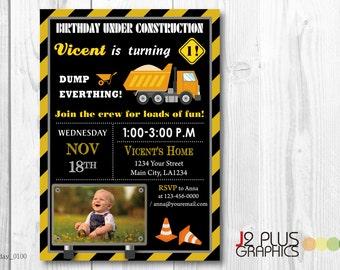 Photo Construction Birthday Invitation with Photo, Construction Photo Brithday Invitations, Construction Birthday Party Invites, Party Card