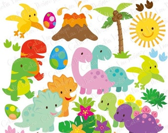 Dinosaur Digital Clipart/ Cute Dinosaur clipart/ Dinosaur Party / INSTANT DOWNLOAD(A021)