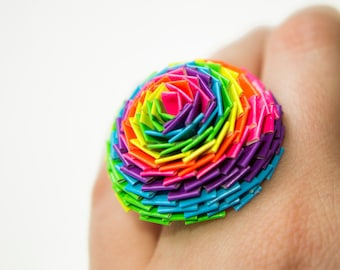 Neon Rainbow Duct Tape Chrysanthemum Ring
