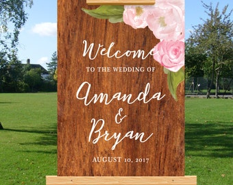 Wedding welcome sign, rustic barn wedding, blush watercolor floral, wooden, DIY printable wedding, personalize