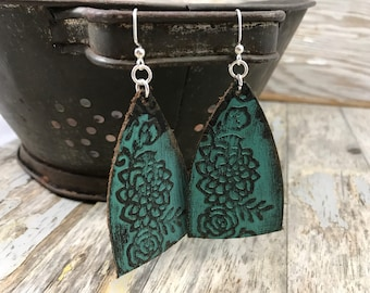 Painted Leather Earrings-Remnants Collection--Boho Earrings-Mini Canvas-Large Floral Bells