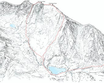 Kit Carson Peak and Challenger Point (14ers), Sangre de Cristo, Colorado. Line illustration showing the Willow Creek Approaches.