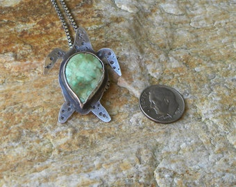 sterling turtle necklace with mountain turquoise