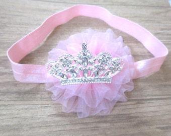 Pink Baby Headband, Birthday Headband, Baby Hairbow, Tiara Baby Headband, Toddler Headband, Infant Headband, Newborn Headband,Crown headband