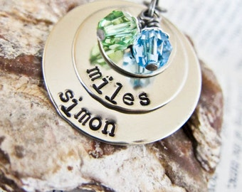 Hand Stamped Kids Mother Name Necklace - Personalized with Birthstone Charms - Three Discs Two Birth Stones