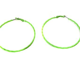 Green Earrings 2.75 inch Green hoop earrings Ripple Hoop Earrings