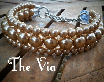 The Via in Gold~ Pearl Dog Collar,Cat collar, Buckle Collars, Martingale Collars, Dog Pearls UNBREAKABLE GUARANTEE!