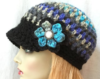 Cold Weather Crochet Womens Hat, Newsboy, Multi color Teal Purple, Very Soft Chunky, Flower, Ribbon, Warm, Teens, Winter, Ski Hat, JE808N12