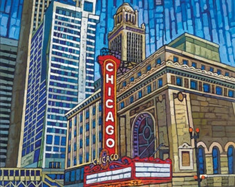 Chicago City print, Chicago Theater, Chicago Buildings, State Street, downtown Chicago, 8x10, by Anastasia Mak