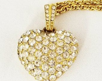 Heart Necklace Pave Rhinestone Signed Monet Vintage Jewelry