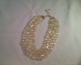 Vintage Collection - Plastic Crystal beads Multichain Necklace Made in West Germany