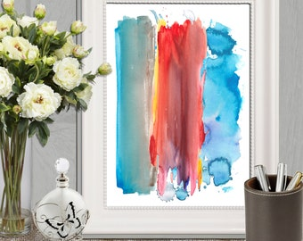 Abstract watercolor art print Colorful watercolor strokes Abstract wall art Large Abstract poster Abstract canvas INSTANT DOWNLOAD 16x20