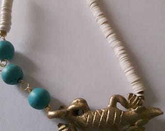 Set of two brass african ethnic pendants crocodile
