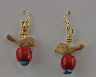 Bird Earrings Turquoise Coral Jasper stone beads Earrings