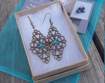 Sturdy Antique Brass Filigree Dangle Earrings with Colored Center Rhinestone Lightweight March Birthstone Hypoallergenic option