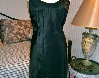 Vintage Black Tafetta Slip/Dress