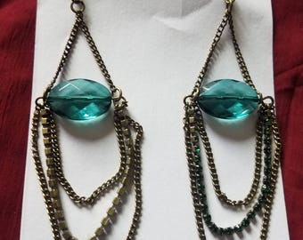Green and antique gold Victorian Earrings