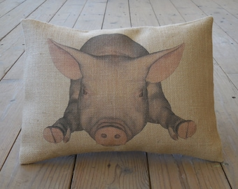 Pig Burlap Pillow, Shabby Chic Decor, Farmhouse pillows, Farm35,  INSERT INCLUDED