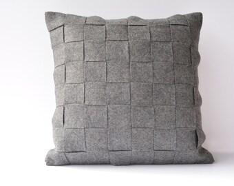 Dark Grey Felt Cushion Cover , Dark Gray Felt Pillow , Decorative Pillow, Accent Throw Pillow