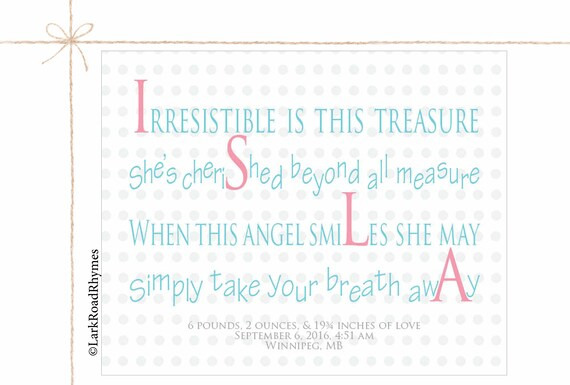 Newborn baby girl gift personalized name for nursery unique newborn baby girl gift personalized name for nursery unique baby gift little girl wall art custom name art baby present name poem 8x10 isla negle Image collections