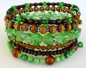 Wide Green and Brown,  Beaded Memory Wire Bracelet, Flexible Bangle, Cuff, Stacked, Wrap Around Bracelet