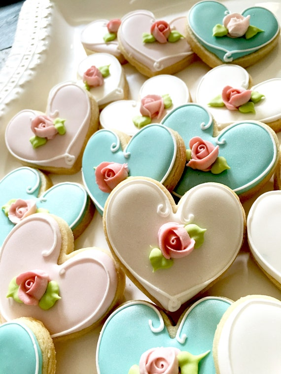 24 Pcs. Assorted Color Heart Cookie Favor- Wedding Favors, Bridal Showers, Bridemaids Gifts, Baby Showers