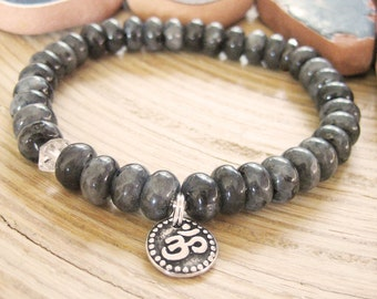 Larvikite and Herkimer Diamond Bracelet - Om Bracelet with Raw Quartz Crystal and Silver Charm, Wrist Mala for Protection and Intuition