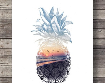 Pineapple sunset, Printable art, sunset beach, art print, Pineapple Sunrise, Aloha tropical island, Printable wall art, Hawaii beach sunset