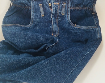 1980s Jou Jou Women's Denim Jeans High Waisted Size 13/14 New Old Stock NWT Plaid and Rad