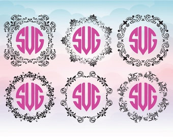 6 Decorative vector frames, Monogram frame designs, Dxf Svg Eps Png files for cutting machines, Frames for silhouette and cricut