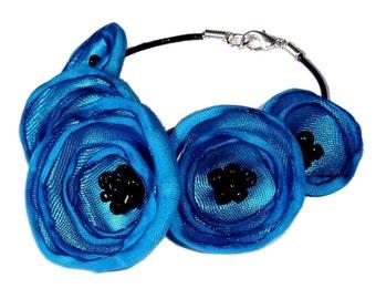 Turquoise Fabric Poppy Bracelet