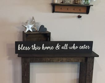 """Pallet Bless This Home and All Who Enter Sign - 5.5""""x36"""" - Home Decor Love Family Rustic Decor Farmhouse Style Fixer Upper (Item - LHS100)"""