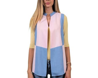 Ice Pastel upcycled Unique, elegant vest, sleeveless blazer