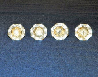 """Clear Glass Knobs, 1 3/8"""" Wide Glass Drawer Pulls, Set of 4"""