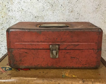 Old Pal TACKLE BOX- Industrial Metal Tool Box- Orange Brown- Art Supply Box Organizer- Vintage Industrial Carrier