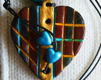 Colourful Classy handmade heart shaped wooden necklace