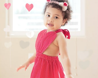 Baby Girl Red Heart Dress, Valentines pinafore, red heart outfit, girls Valentines dress, heart pinafore, red heart head wrap
