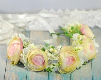 Pink floral crown Ivory hair wreath Boho floral crown Flower headband Flower hair wreath Bridal flower crown Wedding hair Wedding crown boho
