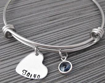 Heart Charm Bracelet - Personalized Expandable Bracelet - Swarovski Crystal Bangle - Mom Bracelet