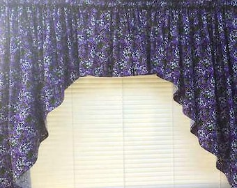 Purple Lilac Green Floral Field Flowers 3pc Kitchen Curtain Swag Valance + Swags