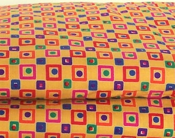Cotton Fabric - Colorful Squares and Dots
