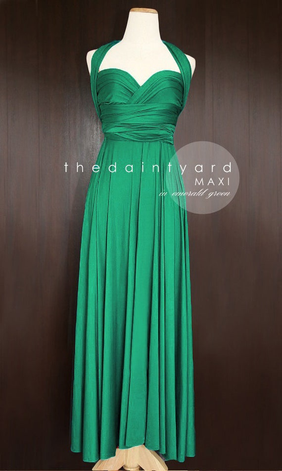 Maxi Emerald Green Bridesmaid Dress Convertible Dress Infinity