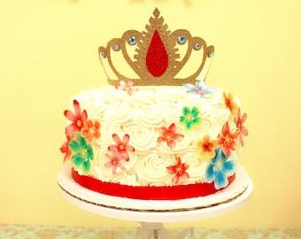 Elena of Avalor tiara crown cake topper.  Elena of Avalor party. Disney Elena party decor. Mexican party. Fiesta.