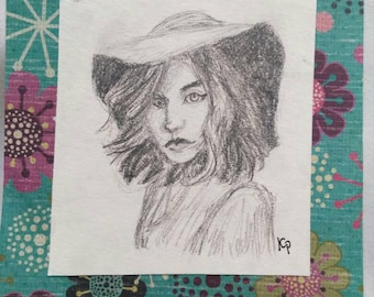 Hat - Portrait in Pencil - Original Art