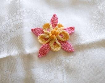 crochet hairclip, pink and yellow columbine barrette, floral barrette, hair bun clip, soft sculpture, hair accessories, crochet barrette