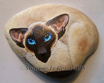 Siamese Cat art Painting on clam shell, cat,  sealpoint, original,  hand painted by Suzanne Le Good