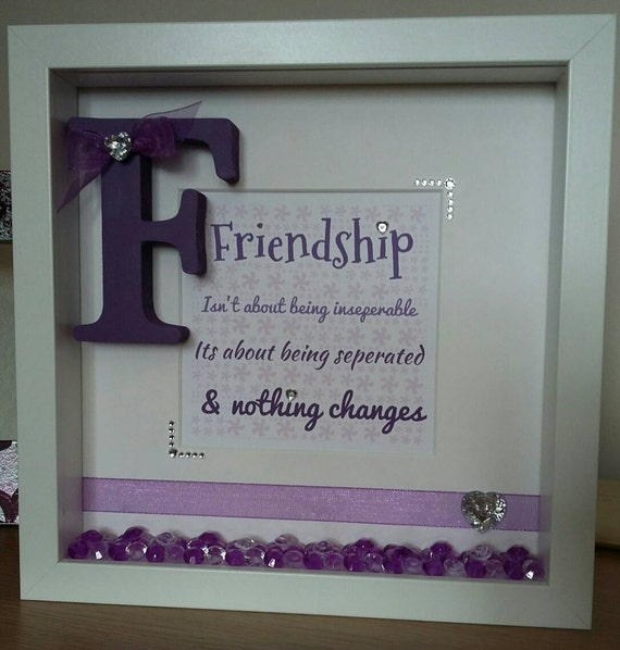 Handmade, Personalised Friend, Friendship Quote, gift frame, Word ...