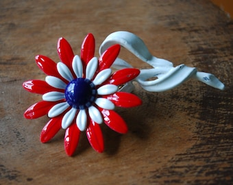 vintage enamel daisy flower brooch/ pin - red white blue -  1960's - Mod